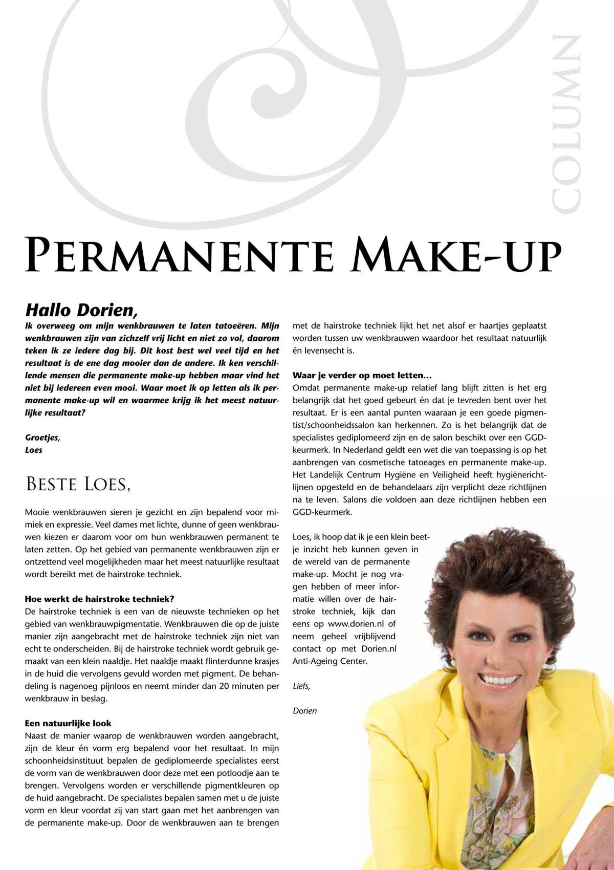 Dorien permanente make up / PMU wenkbrauwen